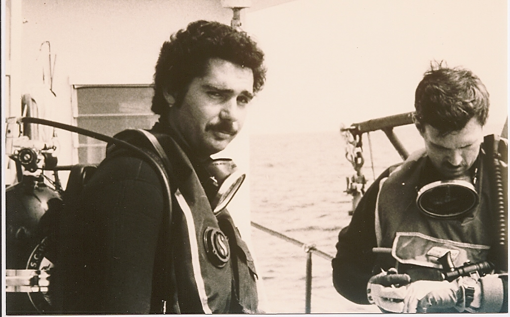 Rodney Rountree and Mel Bell diving on artificial reefs c. 1985